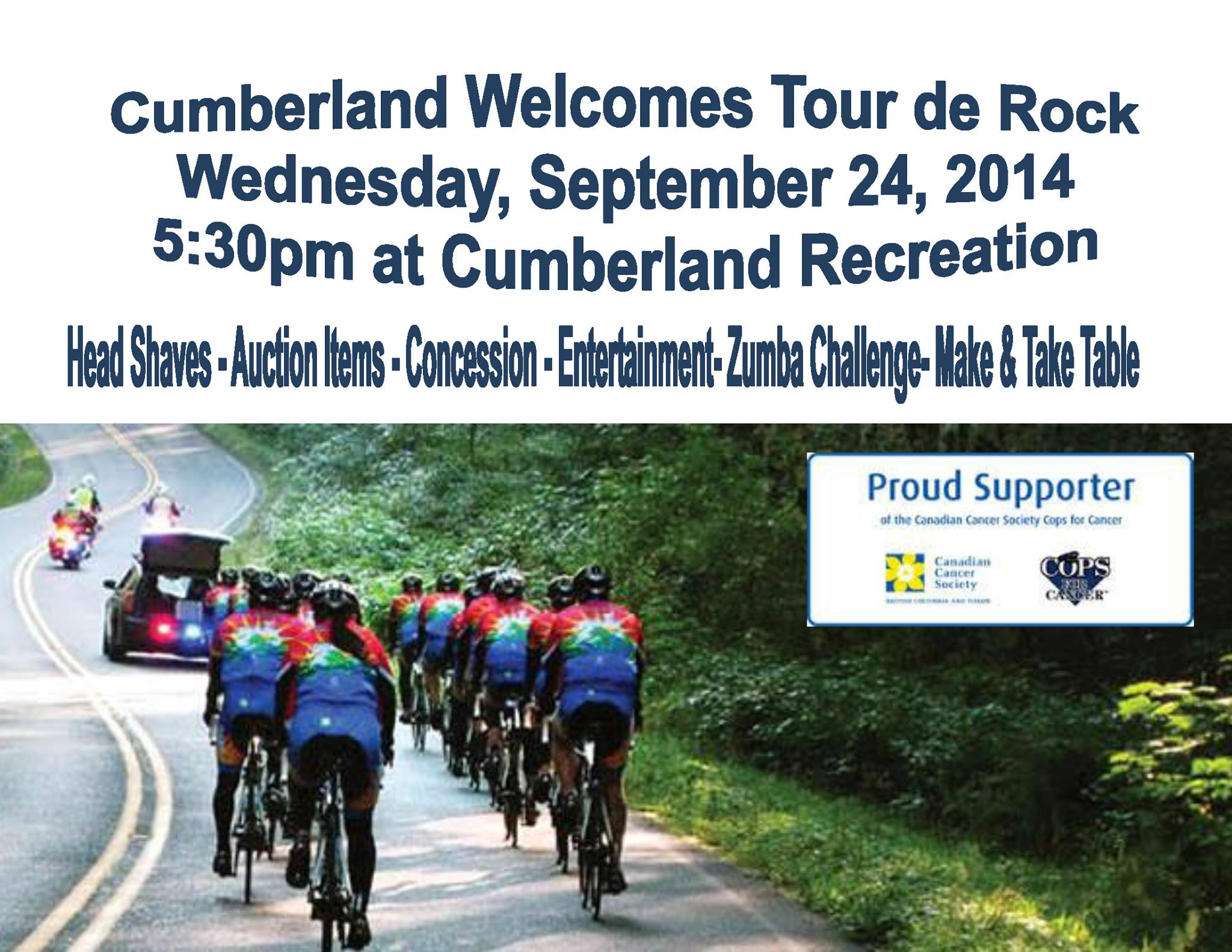 Cumberland's Tour de Rock - There will be games, a concession, auction and head shaves. Please come out to this community event to support such a great cause for children | Currently Cumberland