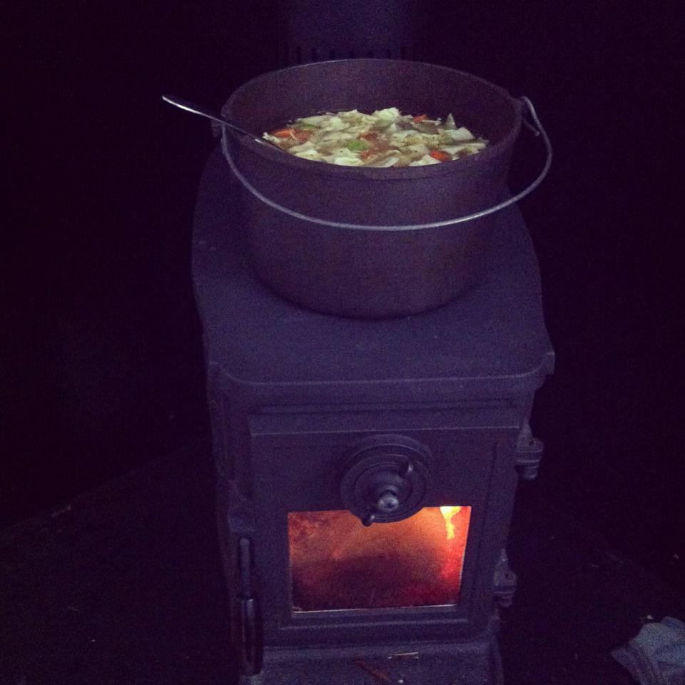 Working by the Woodstove my dinner is cooking, I'm nice and cozy and warm and BC Hydro isn't getting a dime! |Currently Cumberland