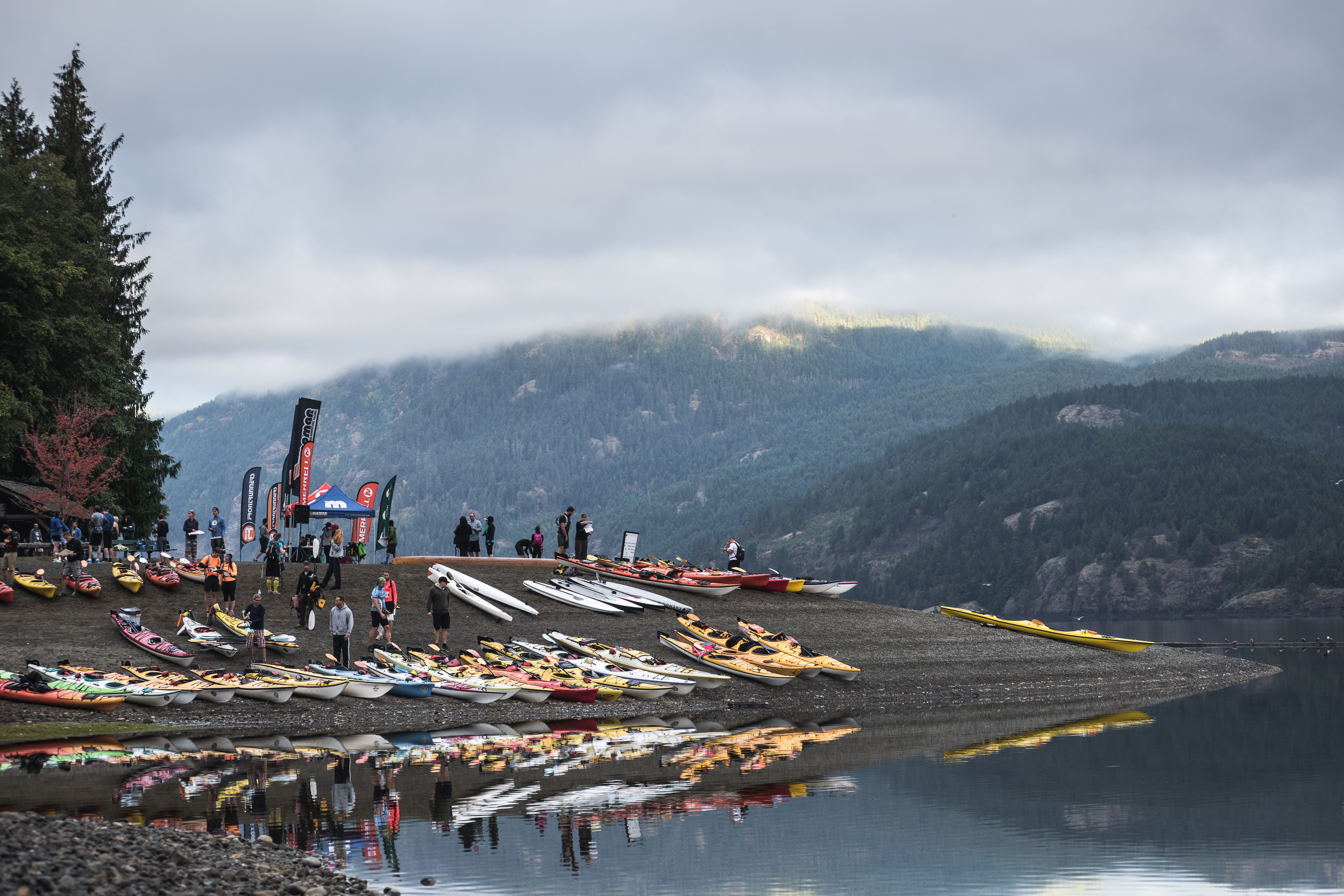 Kayaks at the 2014 MOMAR Cumberland, BC - Dave Silver, Record Sell-out for the Atmosphere Mind Over Mountain Adventure Race