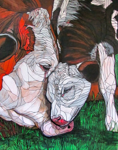 Photo Submitted: Calf with Mother 24-x30-, acrylic on panel 2014, by April Dyck