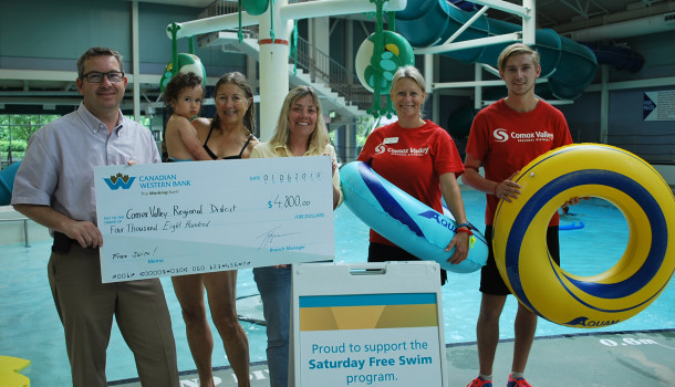 Free Saturday Swims Sponsored by Canadian Western Bank at the CVRD's Aquatic Centre This Summer