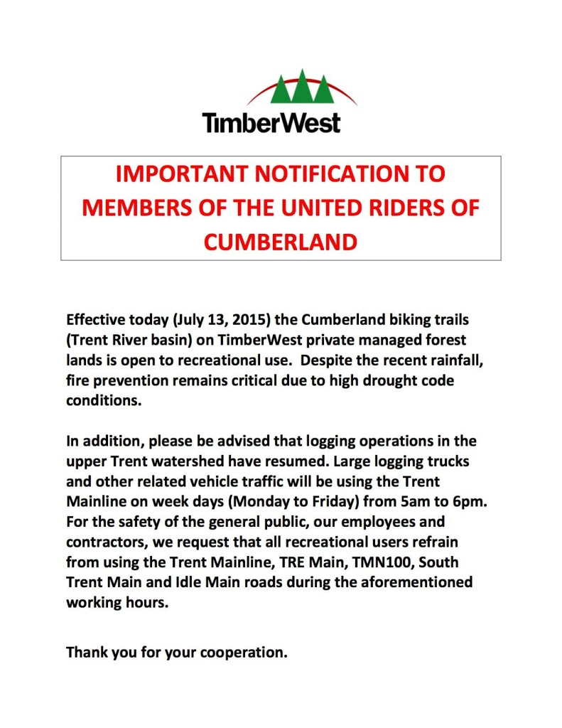 Timberwest opens trails |Currently Cumberland